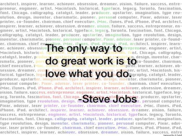 Poster I designed to embody Steve Jobs quote.